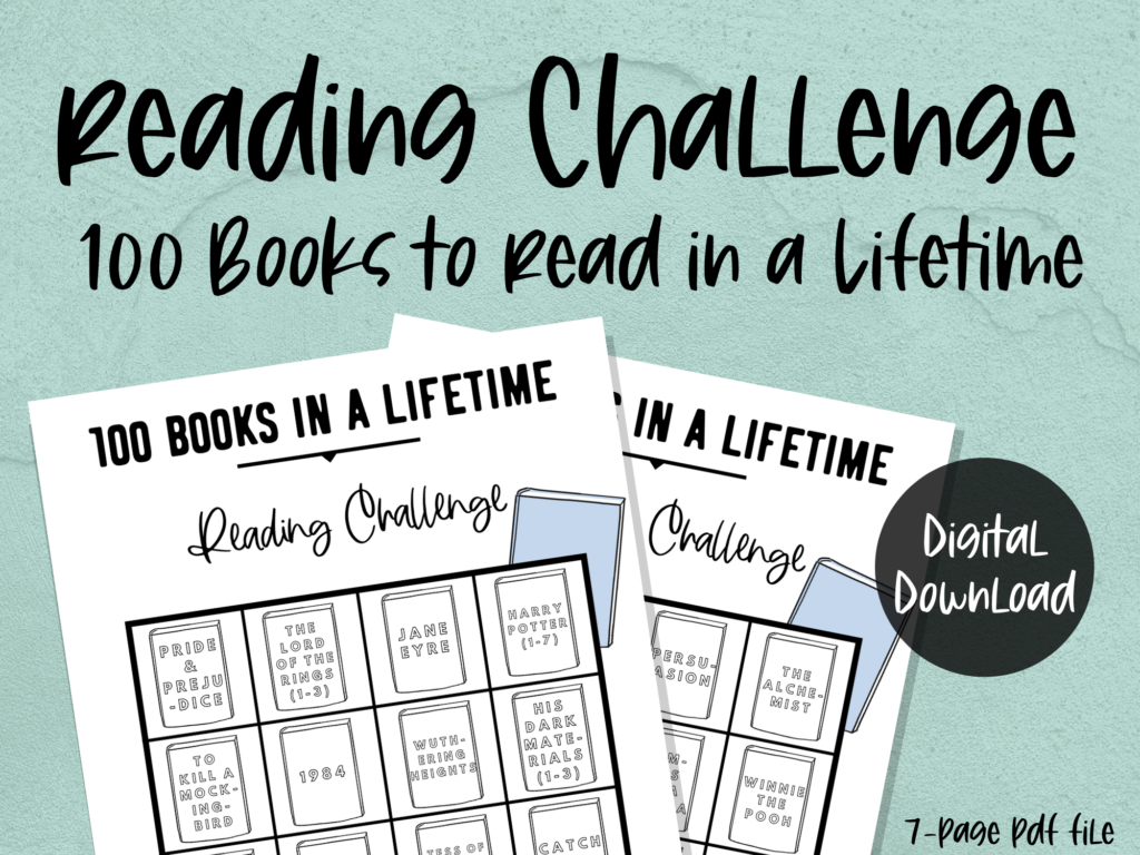 printable reading challenge: 100 books to read in a lifetime