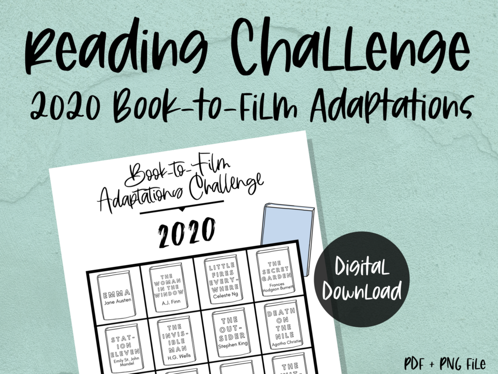 printable reading challenge tracker: 2020 book to film adaptations