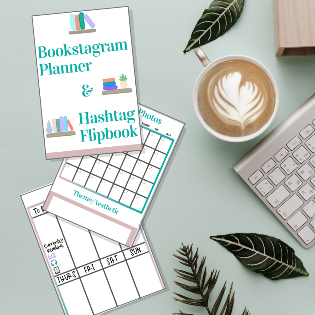 printable bookstagram planner and hashtag flipbook