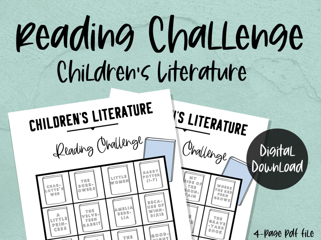 printable reading challenge: children's literature