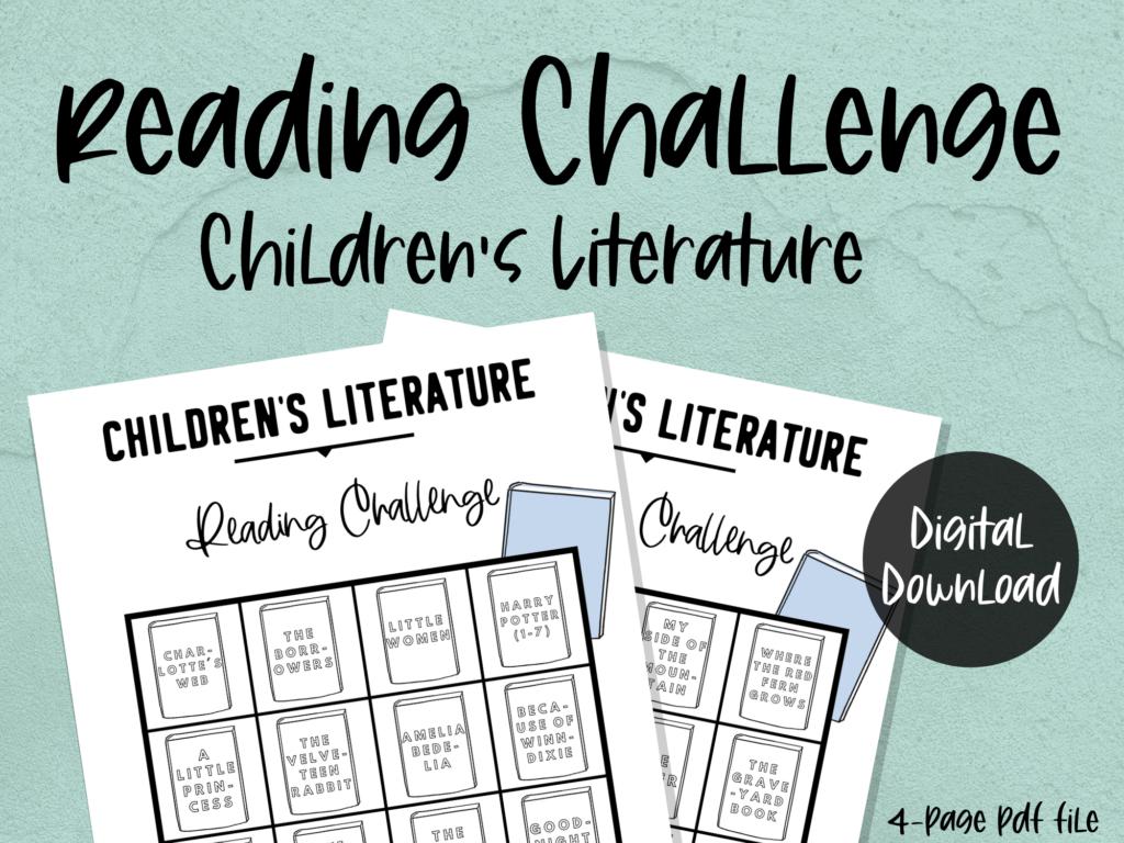 printable reading challenge: children's literature