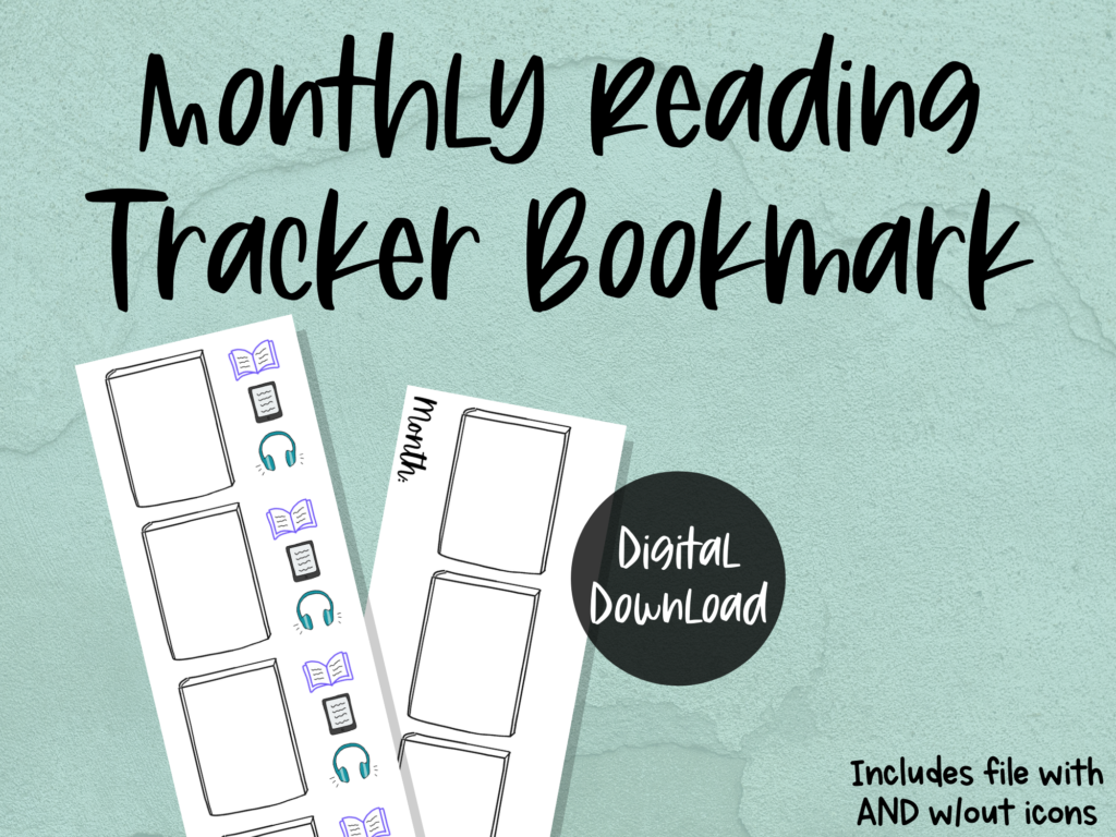 printable bookmark: monthly reading tracker