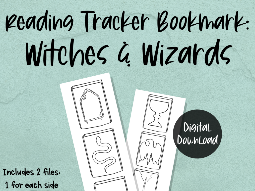 printable bookmark reading tracker: witches and wizards